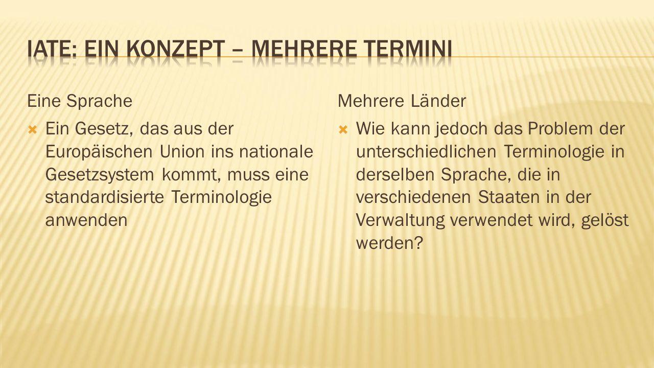 Eine Sprache  Ein Gesetz, das aus der Europäischen Union ins nationale Gesetzsystem kommt, muss eine standardisierte Terminologie anwenden Mehrere Länder  Wie kann jedoch das Problem der unterschiedlichen Terminologie in derselben Sprache, die in verschiedenen Staaten in der Verwaltung verwendet wird, gelöst werden