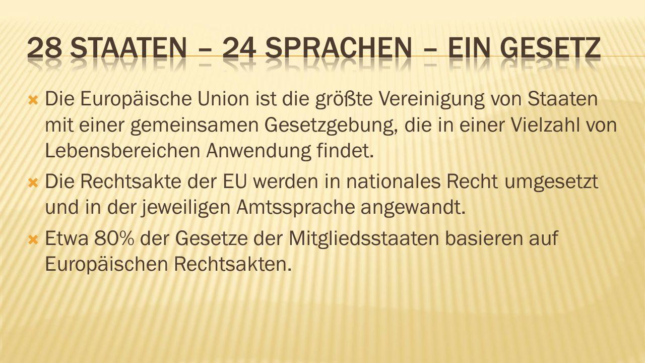  Die Europäische Union ist die größte Vereinigung von Staaten mit einer gemeinsamen Gesetzgebung, die in einer Vielzahl von Lebensbereichen Anwendung findet.