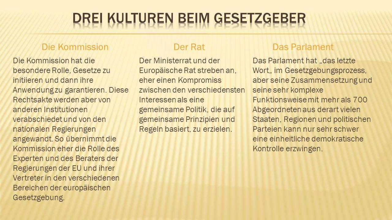 Die Kommission Die Kommission hat die besondere Rolle, Gesetze zu initiieren und dann ihre Anwendung zu garantieren.