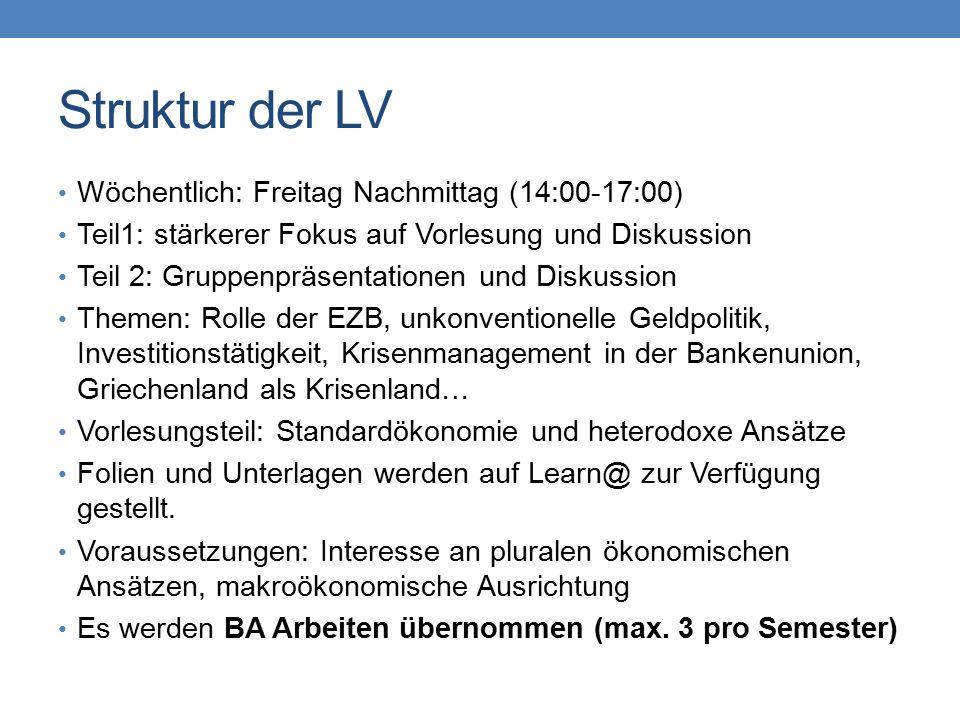 Struktur der LV Wöchentlich: Freitag Nachmittag (14:00-17:00) Teil1: stärkerer Fokus auf Vorlesung und Diskussion Teil 2: Gruppenpräsentationen und Diskussion Themen: Rolle der EZB, unkonventionelle Geldpolitik, Investitionstätigkeit, Krisenmanagement in der Bankenunion, Griechenland als Krisenland… Vorlesungsteil: Standardökonomie und heterodoxe Ansätze Folien und Unterlagen werden auf Learn@ zur Verfügung gestellt.