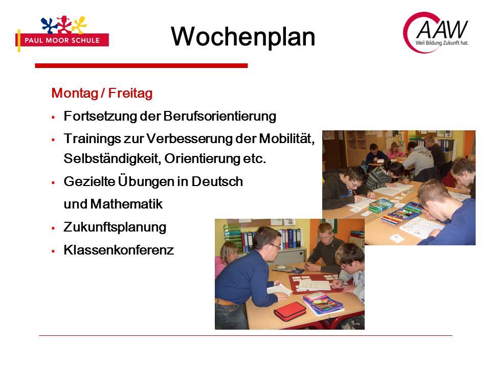 Wochenplan Montag / Freitag  Fortsetzung der Berufsorientierung  Trainings zur Verbesserung der Mobilität, Selbständigkeit, Orientierung etc.