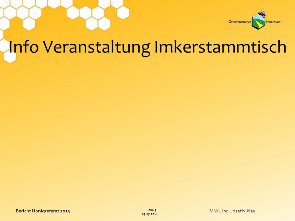 03.05.2016 Folie 3 Bericht Honigreferat 2013IM WL Ing.