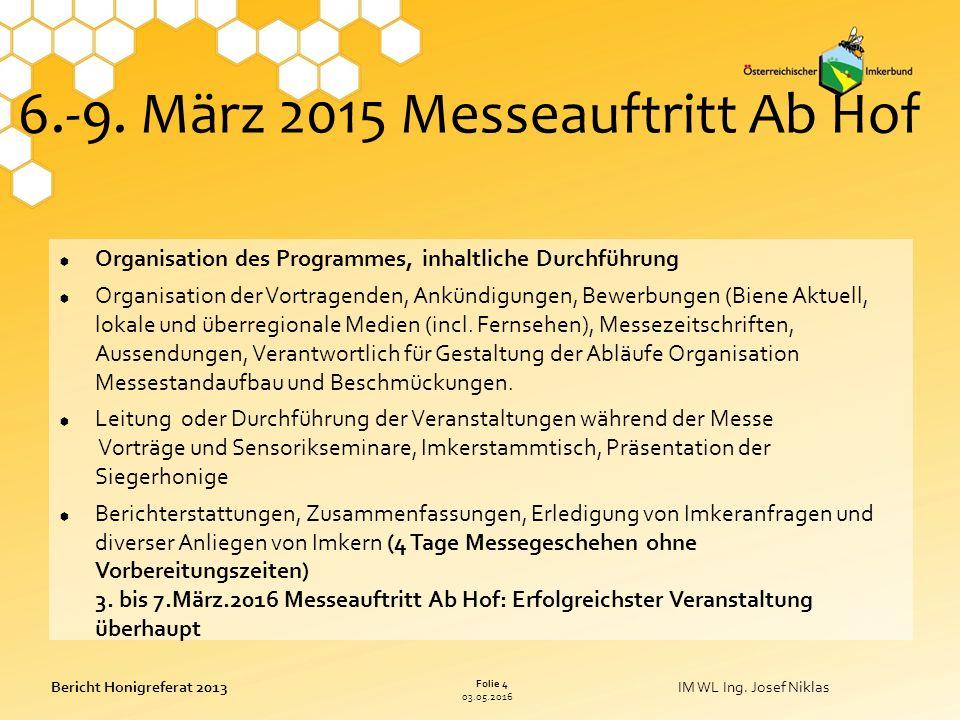 03.05.2016 Folie 4 Bericht Honigreferat 2013IM WL Ing.