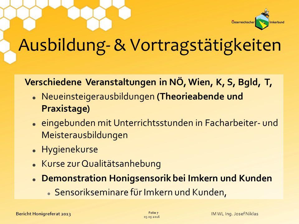 03.05.2016 Folie 7 Bericht Honigreferat 2013IM WL Ing.
