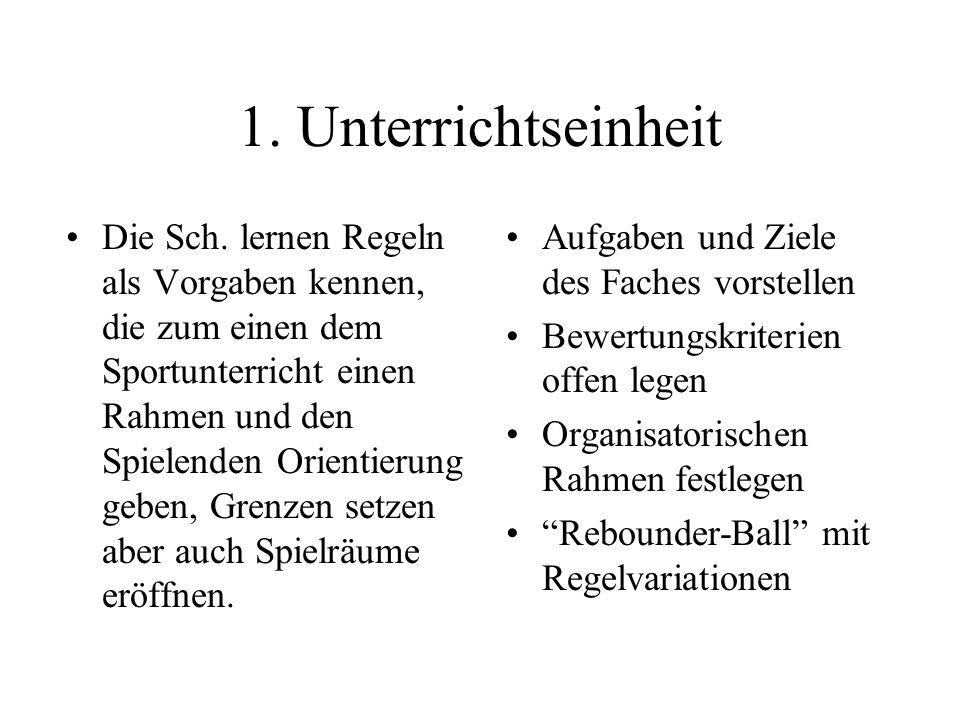 1. Unterrichtseinheit Die Sch. lernen Regeln als Vorgaben kennen, die zum einen dem Sportunterricht einen Rahmen und den Spielenden Orientierung geben