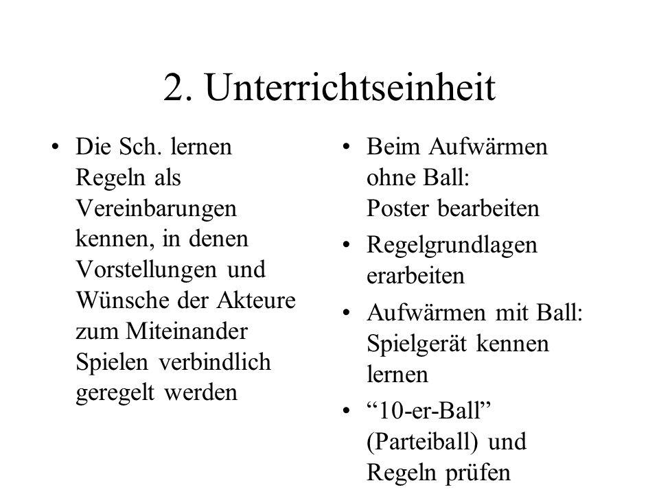 2. Unterrichtseinheit Die Sch. lernen Regeln als Vereinbarungen kennen, in denen Vorstellungen und Wünsche der Akteure zum Miteinander Spielen verbind