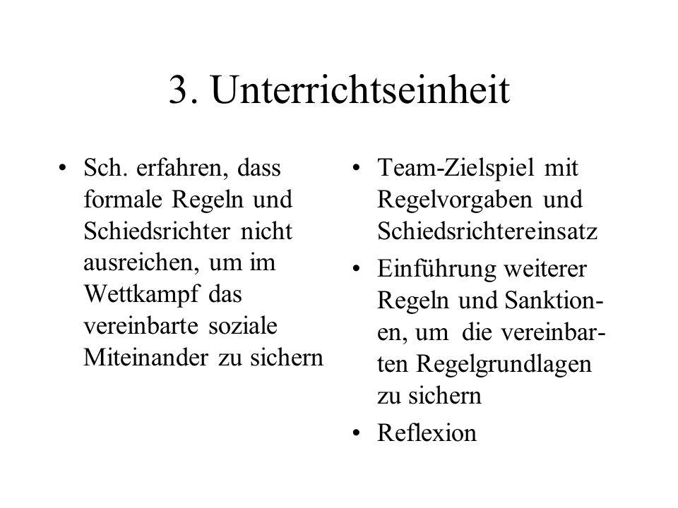 3. Unterrichtseinheit Sch. erfahren, dass formale Regeln und Schiedsrichter nicht ausreichen, um im Wettkampf das vereinbarte soziale Miteinander zu s