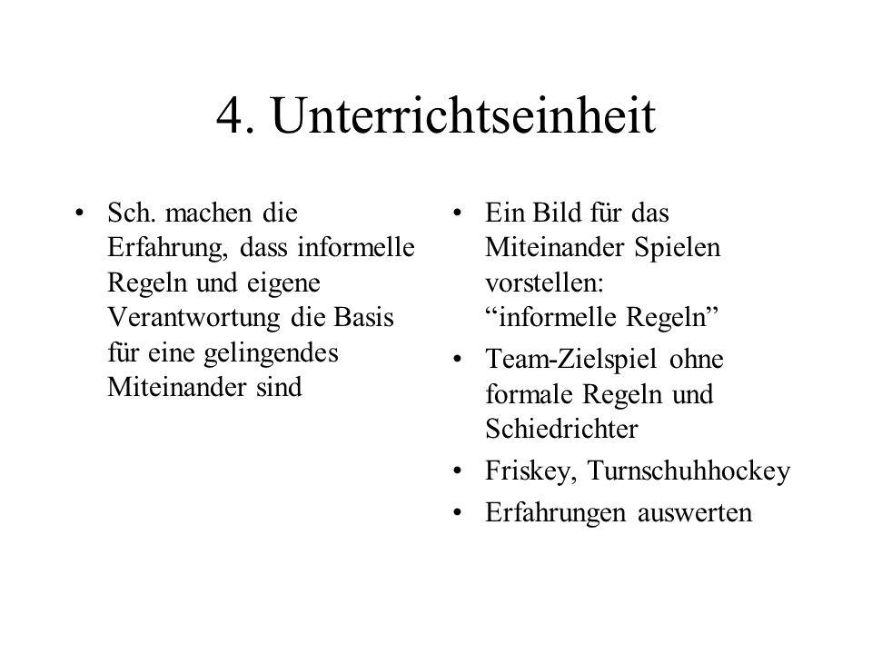 4. Unterrichtseinheit Sch. machen die Erfahrung, dass informelle Regeln und eigene Verantwortung die Basis für eine gelingendes Miteinander sind Ein B