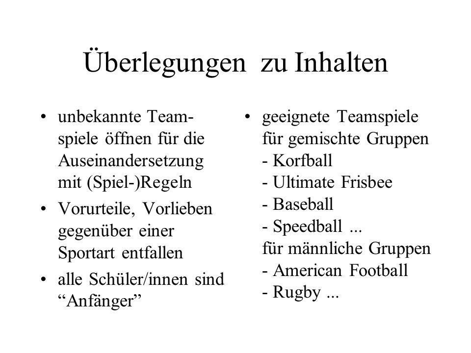 Überlegungen zu Inhalten unbekannte Team- spiele öffnen für die Auseinandersetzung mit (Spiel-)Regeln Vorurteile, Vorlieben gegenüber einer Sportart e