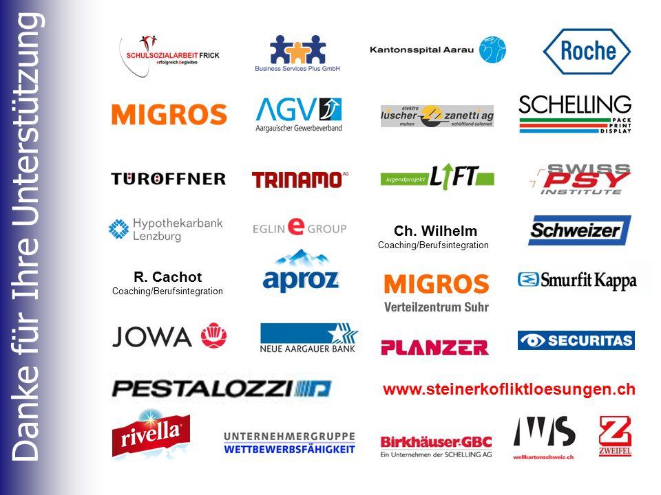Danke für Ihre Unterstützung www.steinerkofliktloesungen.ch R. Cachot Coaching/Berufsintegration Ch. Wilhelm Coaching/Berufsintegration