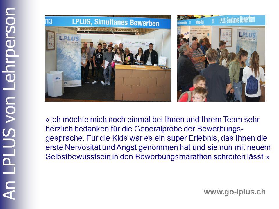 Am Stand LPLUS Zusammenarbeit mit kompetenten Gesprächspartnern (üben).