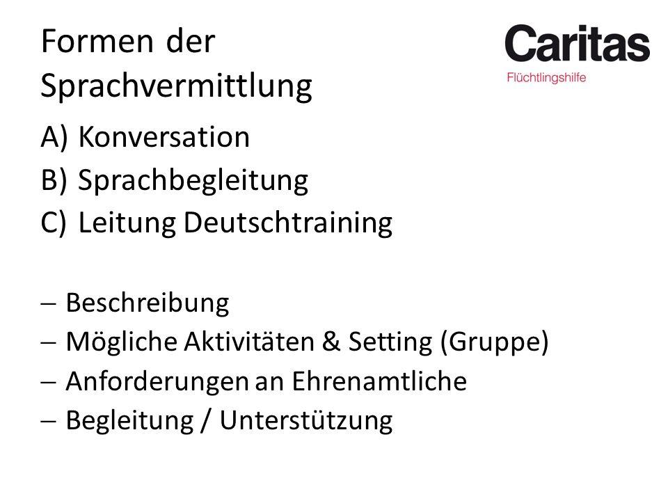 Formen der Sprachvermittlung A)Konversation B)Sprachbegleitung C)Leitung Deutschtraining  Beschreibung  Mögliche Aktivitäten & Setting (Gruppe)  An