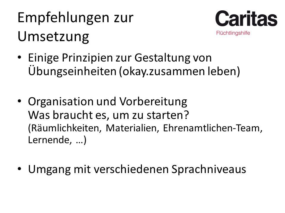 Empfehlungen zur Umsetzung Einige Prinzipien zur Gestaltung von Übungseinheiten (okay.zusammen leben) Organisation und Vorbereitung Was braucht es, um