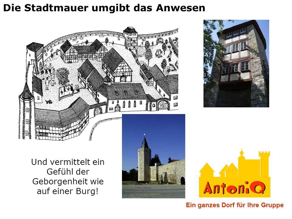 Die Stadtmauer umgibt das Anwesen Und vermittelt ein Gefühl der Geborgenheit wie auf einer Burg! Ein ganzes Dorf für Ihre Gruppe