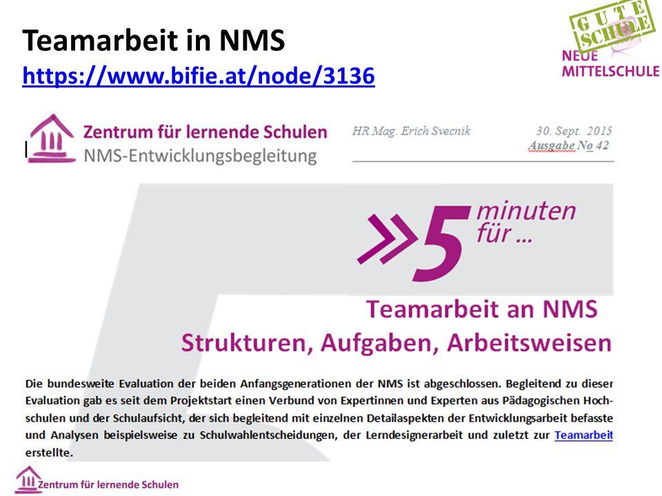 Teamarbeit in NMS https://www.bifie.at/node/3136