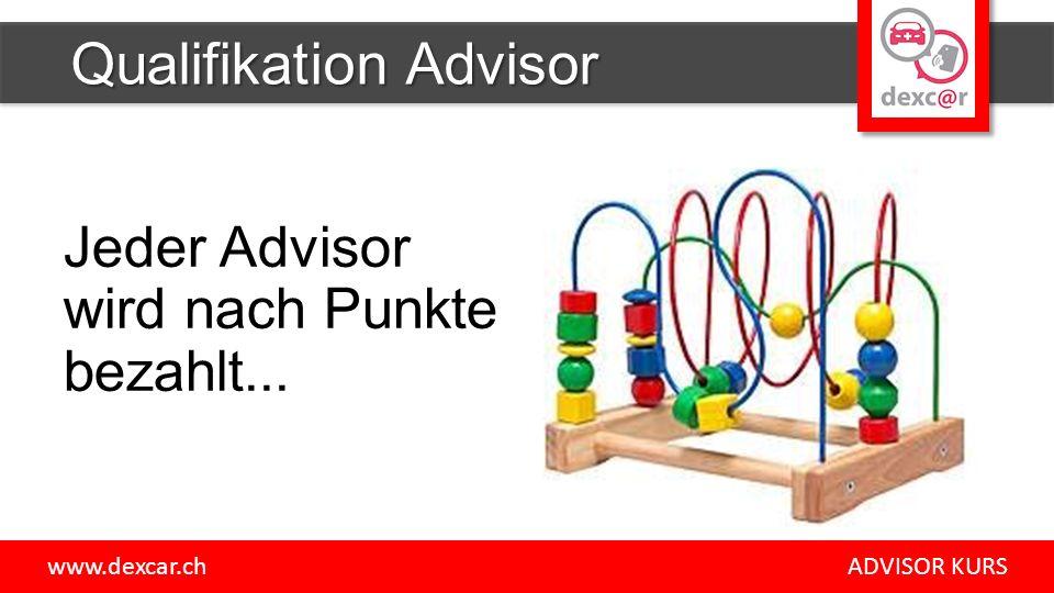 Jeder Advisor wird nach Punkte bezahlt... Qualifikation Advisor www.dexcar.ch ADVISOR KURS