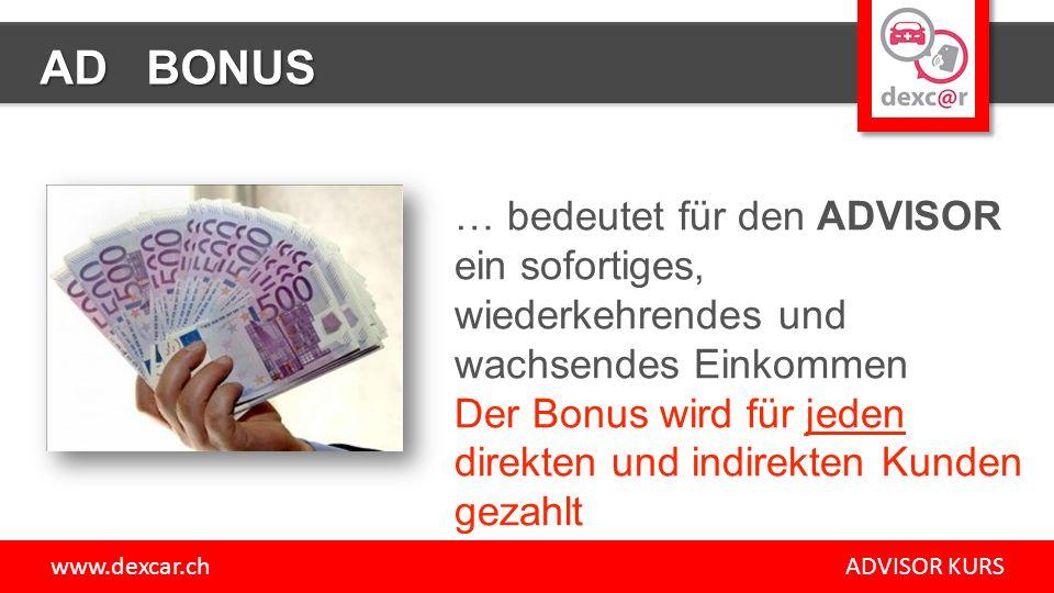 www.dexcar.ch ADVISOR KURS AD BONUS … bedeutet für den ADVISOR ein sofortiges, wiederkehrendes und wachsendes Einkommen Der Bonus wird für jeden direkten und indirekten Kunden gezahlt