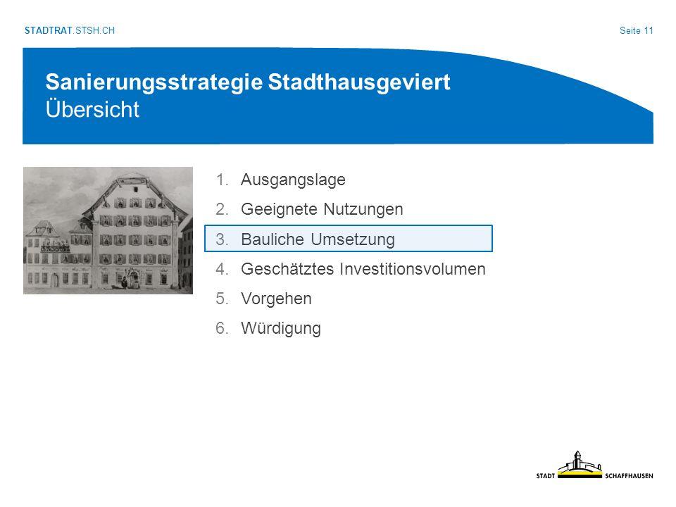 Seite 11 STADTRAT.STSH.CH Sanierungsstrategie Stadthausgeviert Übersicht 1.Ausgangslage 2.Geeignete Nutzungen 3.Bauliche Umsetzung 4.Geschätztes Investitionsvolumen 5.Vorgehen 6.Würdigung