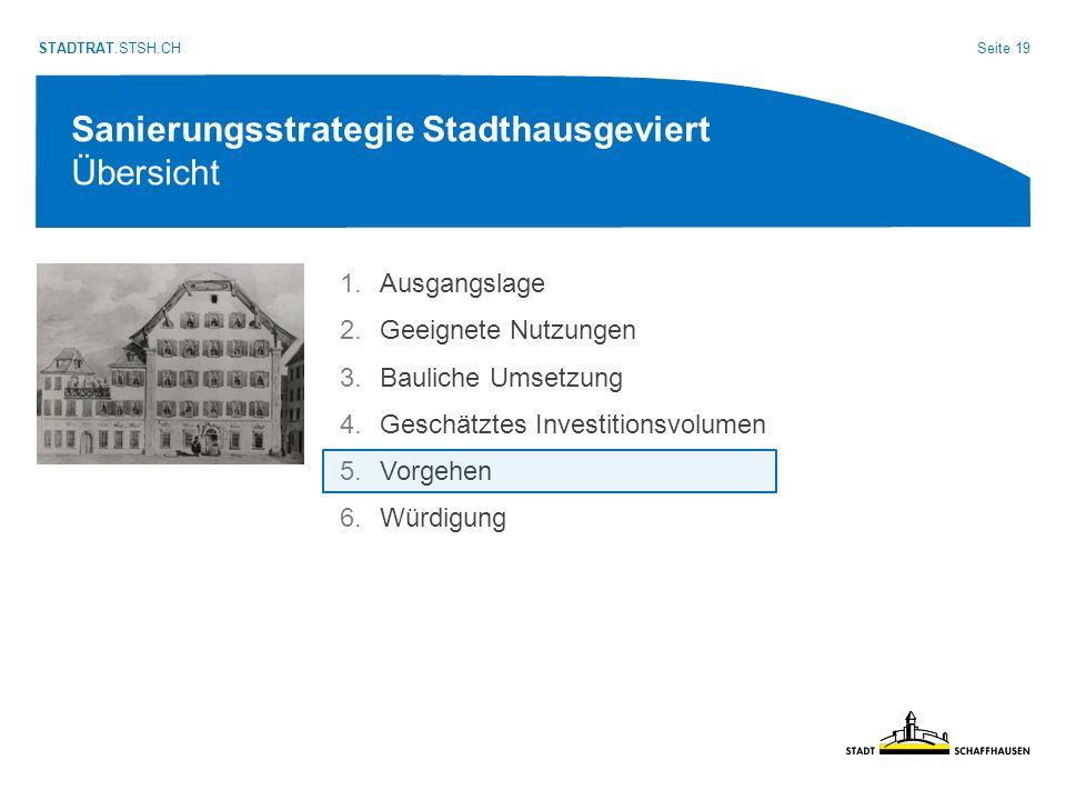 Seite 19 STADTRAT.STSH.CH Sanierungsstrategie Stadthausgeviert Übersicht 1.Ausgangslage 2.Geeignete Nutzungen 3.Bauliche Umsetzung 4.Geschätztes Investitionsvolumen 5.Vorgehen 6.Würdigung