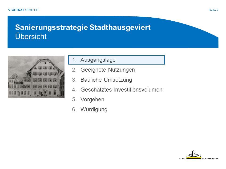 Seite 3 STADTRAT.STSH.CH Sanierungsstrategie Stadthausgeviert Ausgangslage: Das Geviert ist sanierungsbedürftig.