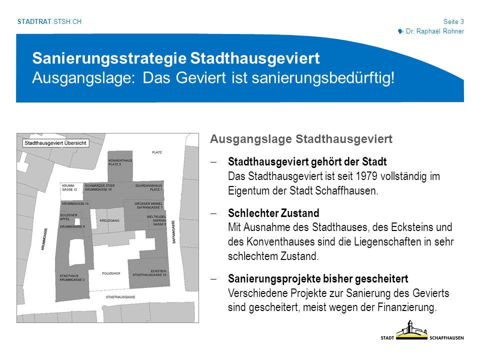 Seite 14 STADTRAT.STSH.CH Sanierungsstrategie Stadthausgeviert Bauliche Umsetzung: Verwaltungsneubau Schnitt durch Eckstein und Verwaltungsneubau mit durchgängigen Ebenen Dr.