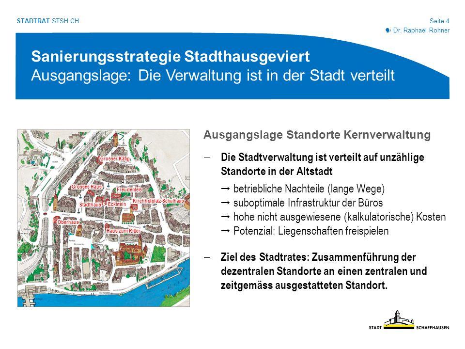 Seite 5 STADTRAT.STSH.CH Sanierungsstrategie Stadthausgeviert Übersicht 1.Ausgangslage 2.Geeignete Nutzungen 3.Bauliche Umsetzung 4.Geschätztes Investitionsvolumen 5.Vorgehen 6.Würdigung
