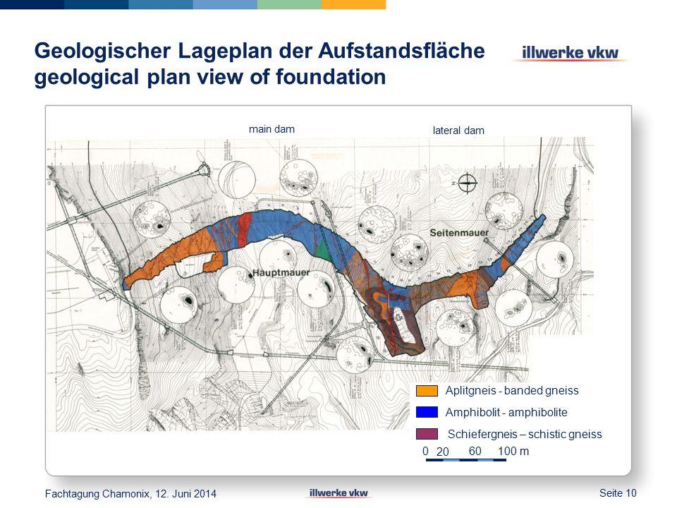 Geologischer Lageplan der Aufstandsfläche geological plan view of foundation Seite 10 Aplitgneis - banded gneiss Amphibolit - amphibolite Schiefergneis – schistic gneiss 0 20 60 100 m Fachtagung Chamonix, 12.