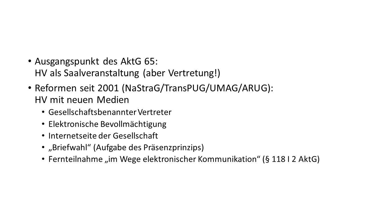 """Ausgangspunkt des AktG 65: HV als Saalveranstaltung (aber Vertretung!) Reformen seit 2001 (NaStraG/TransPUG/UMAG/ARUG): HV mit neuen Medien Gesellschaftsbenannter Vertreter Elektronische Bevollmächtigung Internetseite der Gesellschaft """"Briefwahl (Aufgabe des Präsenzprinzips) Fernteilnahme """"im Wege elektronischer Kommunikation (§ 118 I 2 AktG)"""