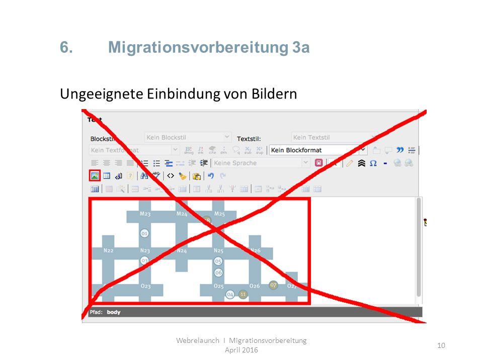 10 6.Migrationsvorbereitung 3a Webrelaunch I Migrationsvorbereitung April 2016 Ungeeignete Einbindung von Bildern