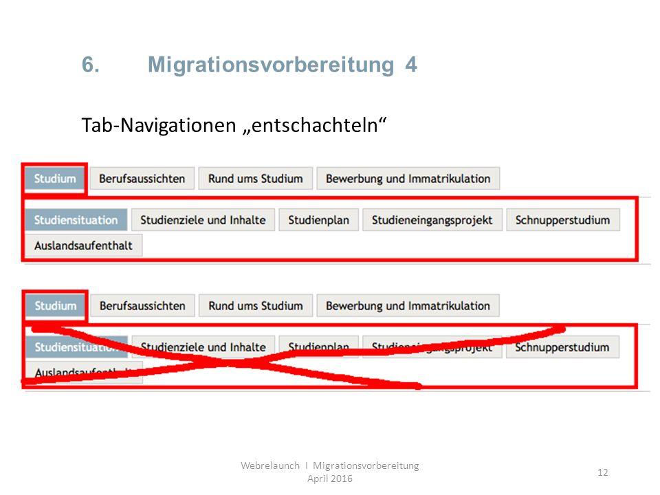 "12 6.Migrationsvorbereitung 4 Webrelaunch I Migrationsvorbereitung April 2016 Tab-Navigationen ""entschachteln"