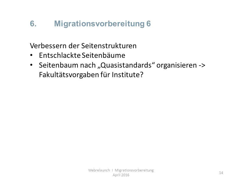14 6.Migrationsvorbereitung 6 Webrelaunch I Migrationsvorbereitung April 2016 Verbessern der Seitenstrukturen Entschlackte Seitenbäume Seitenbaum nach