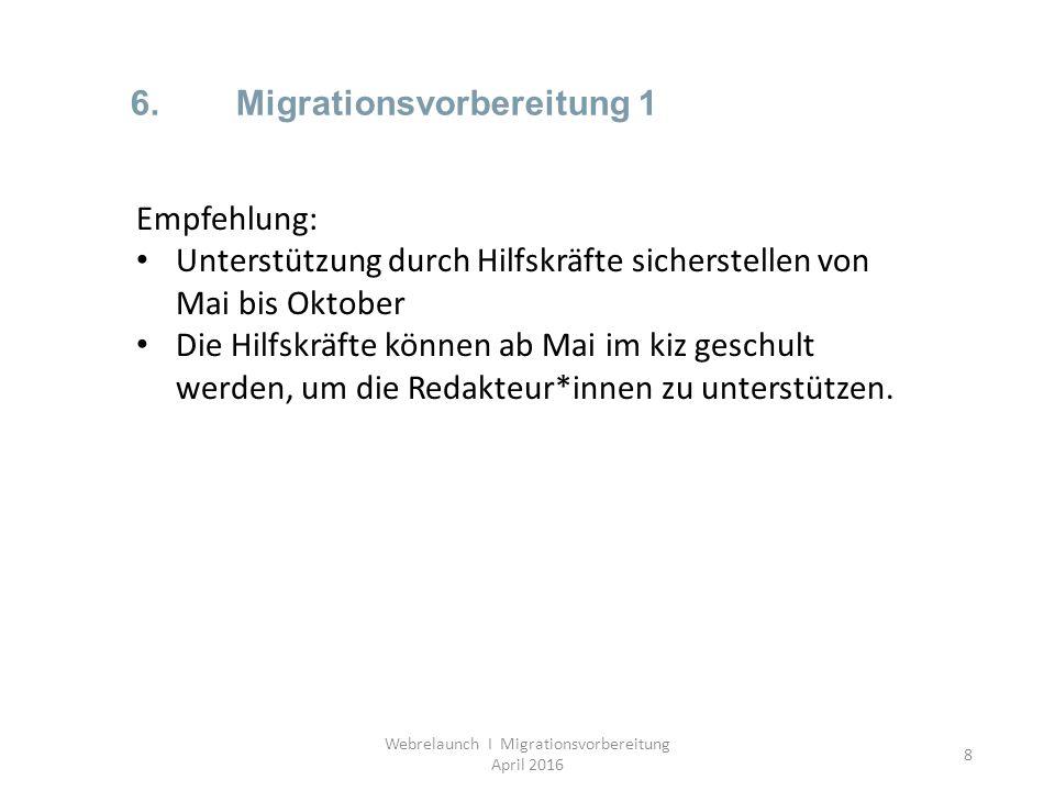 8 6.Migrationsvorbereitung 1 Webrelaunch I Migrationsvorbereitung April 2016 Empfehlung: Unterstützung durch Hilfskräfte sicherstellen von Mai bis Okt