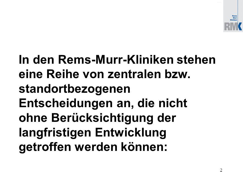 2 In den Rems-Murr-Kliniken stehen eine Reihe von zentralen bzw.
