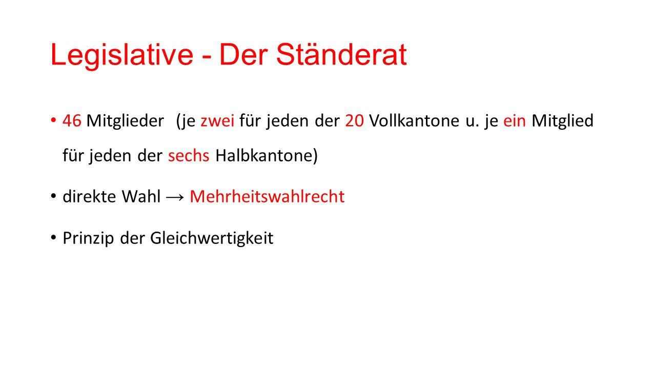 Legislative - Der Ständerat 46 Mitglieder (je zwei für jeden der 20 Vollkantone u.