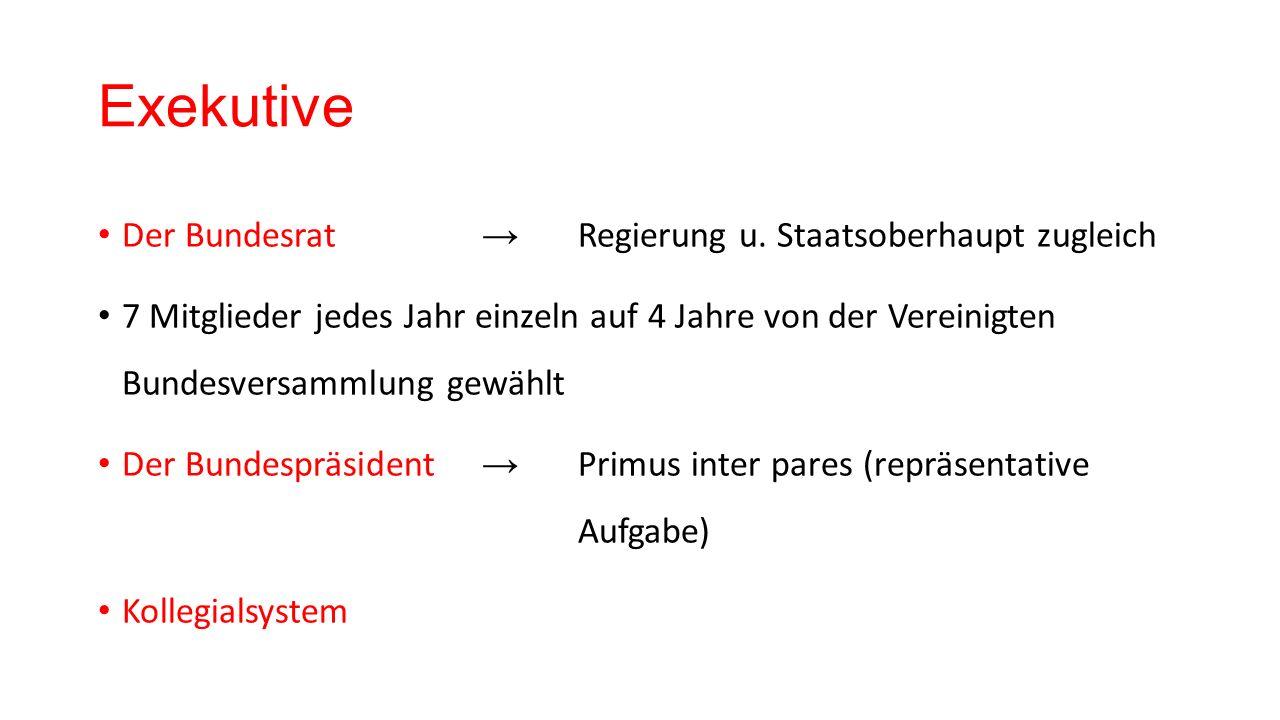 Exekutive Der Bundesrat → Regierung u.