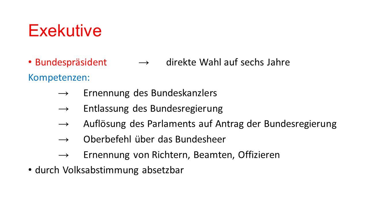 Exekutive Bundesregierung → vom Parlament gewählt Zusammensetzung:Bundeskanzler u.
