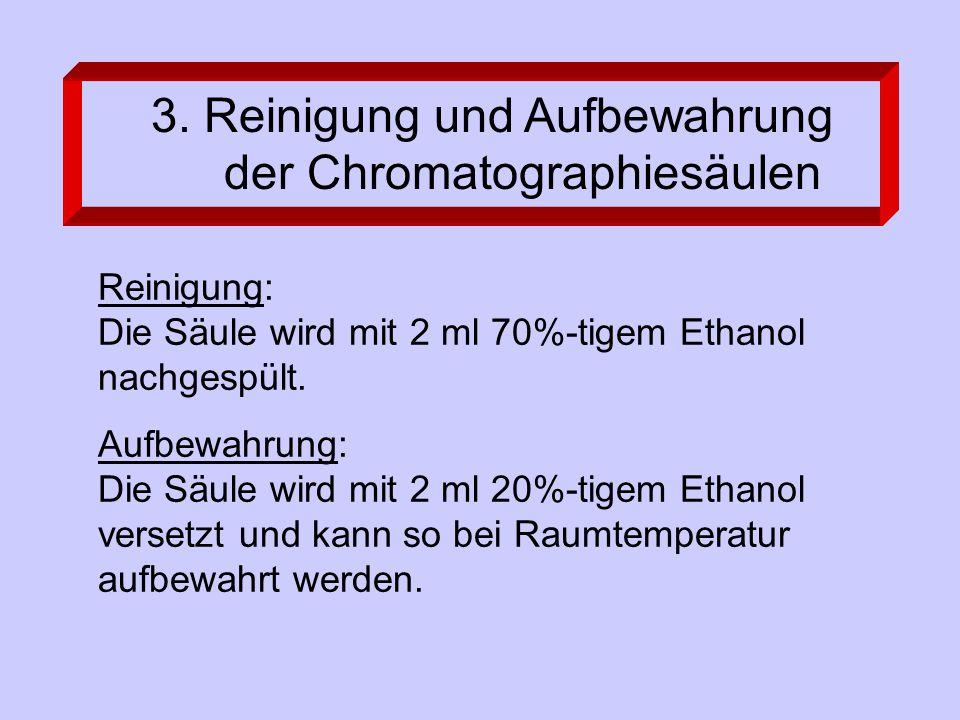Reinigung: Die Säule wird mit 2 ml 70%-tigem Ethanol nachgespült. Aufbewahrung: Die Säule wird mit 2 ml 20%-tigem Ethanol versetzt und kann so bei Rau