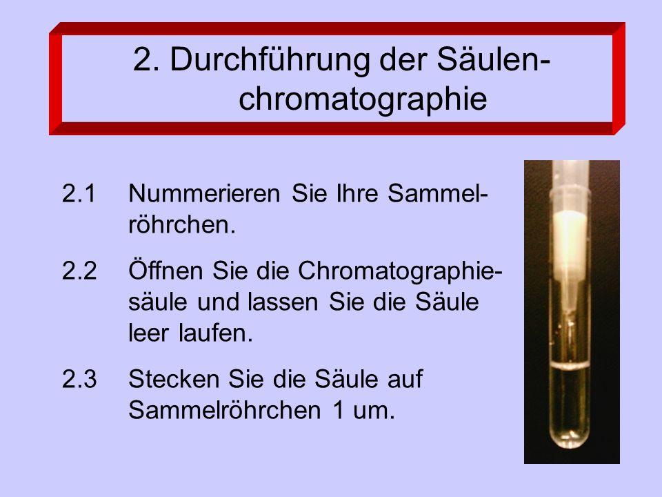 2.1 Nummerieren Sie Ihre Sammel- röhrchen. 2.2 Öffnen Sie die Chromatographie- säule und lassen Sie die Säule leer laufen. 2.3Stecken Sie die Säule au