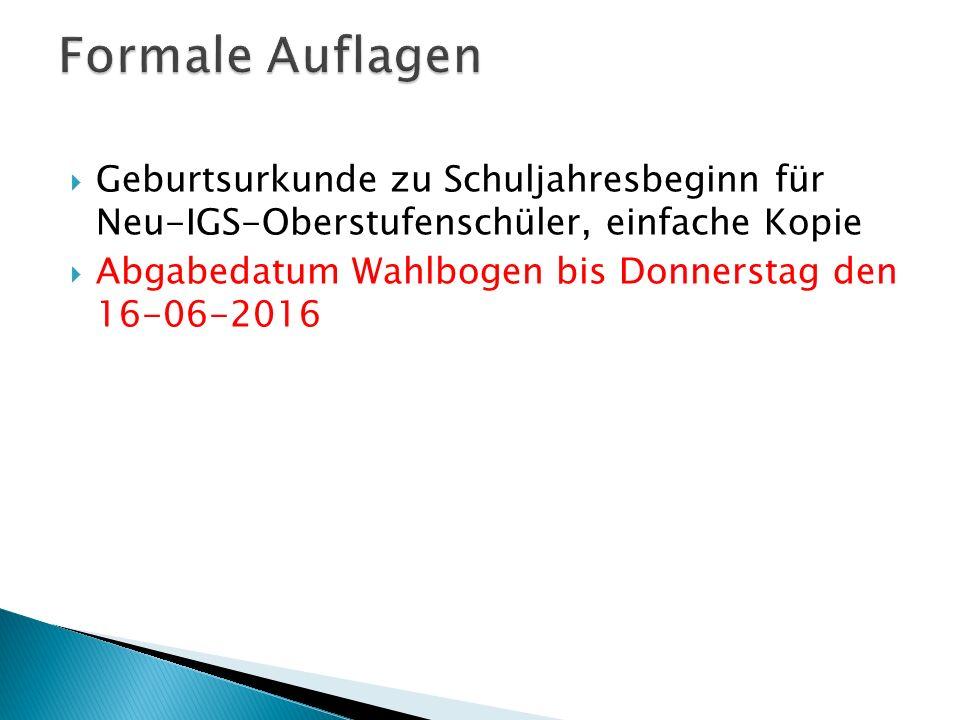  Geburtsurkunde zu Schuljahresbeginn für Neu-IGS-Oberstufenschüler, einfache Kopie  Abgabedatum Wahlbogen bis Donnerstag den 16-06-2016