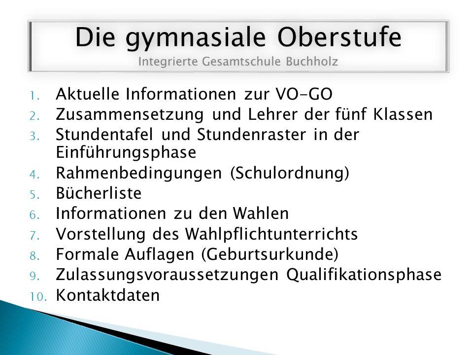 1. Aktuelle Informationen zur VO-GO 2. Zusammensetzung und Lehrer der fünf Klassen 3.