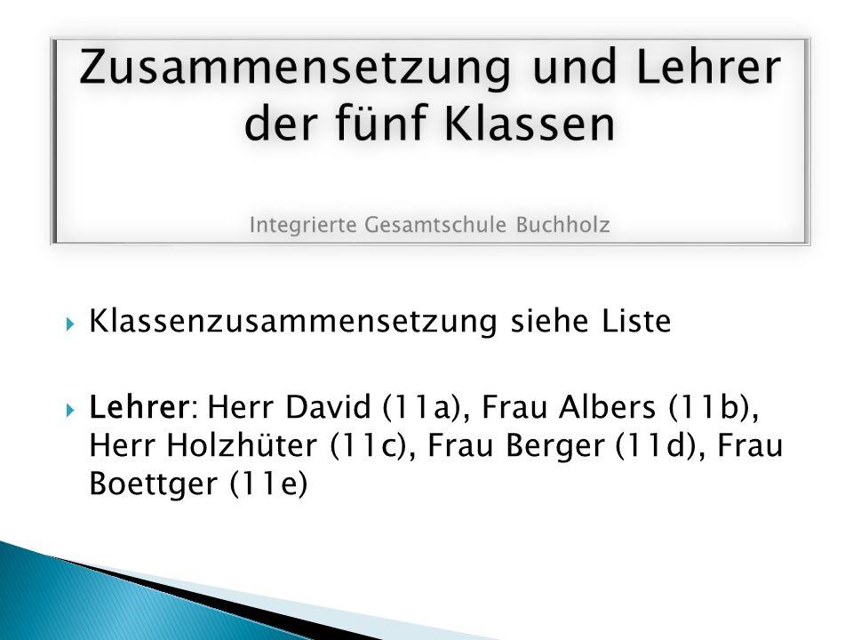  Klassenzusammensetzung siehe Liste  Lehrer: Herr David (11a), Frau Albers (11b), Herr Holzhüter (11c), Frau Berger (11d), Frau Boettger (11e)