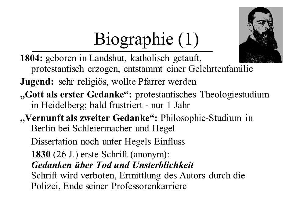 """Biographie (2) """"Mensch als dritter Gedanke : 1837 (33 J.) Heirat von Bertha Löw, einer reichen Frau lebt von nun zurückgezogen als Privatgelehrter distanziert sich von der Philosophie Hegels 1841 (37 J.): Das Wesen des Christentums – Hauptwerk anthropologische Theorie der Religion."""