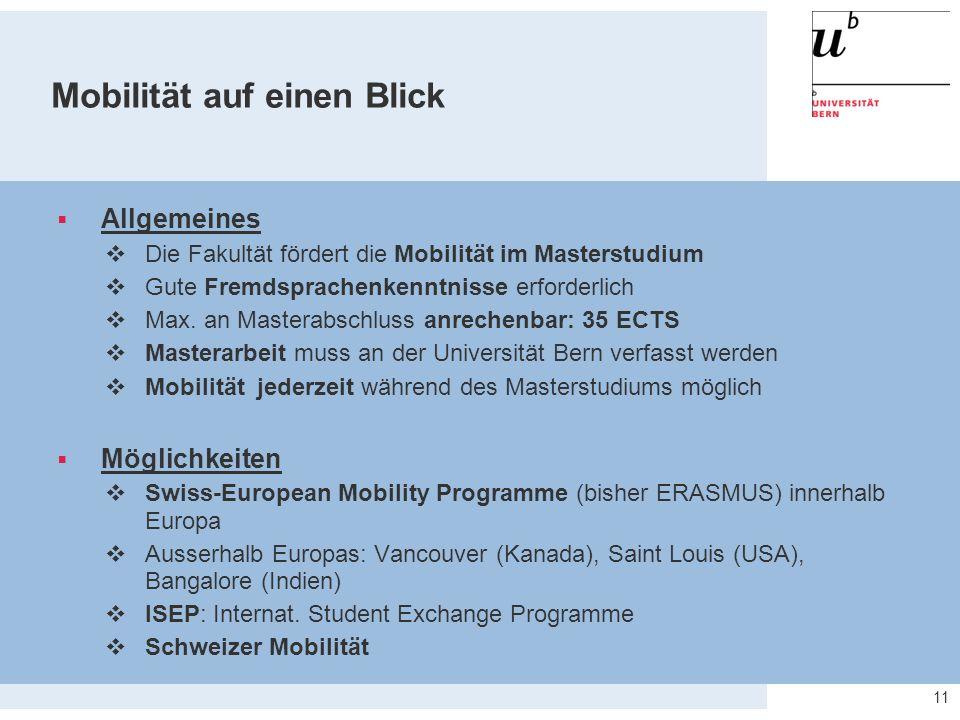 Mobilität auf einen Blick  Allgemeines  Die Fakultät fördert die Mobilität im Masterstudium  Gute Fremdsprachenkenntnisse erforderlich  Max.