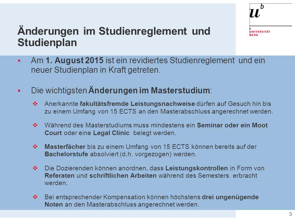 Änderungen im Studienreglement und Studienplan  Am 1.