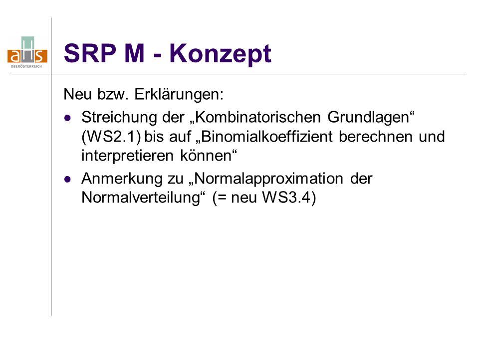"""SRP M - Konzept Neu bzw. Erklärungen: Streichung der """"Kombinatorischen Grundlagen"""" (WS2.1) bis auf """"Binomialkoeffizient berechnen und interpretieren k"""