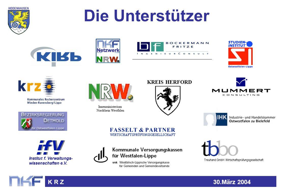 HIDDENHAUSEN K R Z30.März 2004 Die Unterstützer KREIS HERFORD Treuhand GmbH Wirtschaftsprüfungsgesellschaft Institut f.