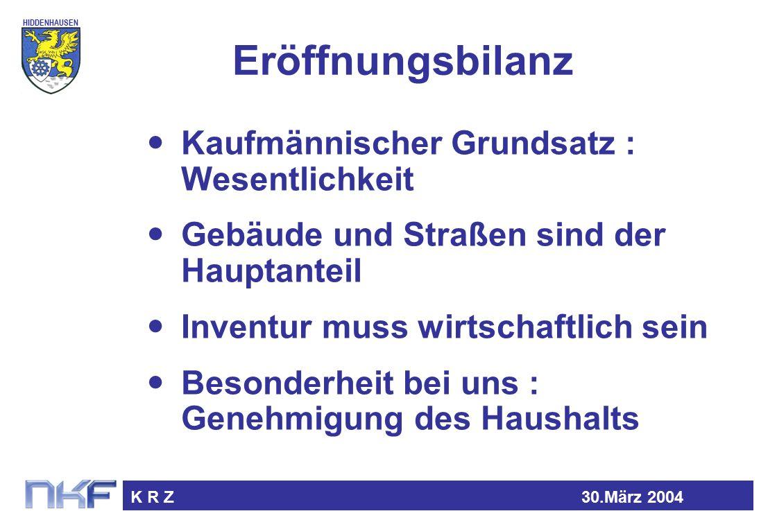 HIDDENHAUSEN K R Z30.März 2004 Eröffnungsbilanz Kaufmännischer Grundsatz : Wesentlichkeit Gebäude und Straßen sind der Hauptanteil Inventur muss wirtschaftlich sein Besonderheit bei uns : Genehmigung des Haushalts