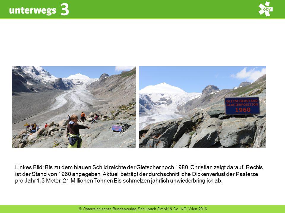 © Österreichischer Bundesverlag Schulbuch GmbH & Co. KG, Wien 2016 3 Linkes Bild: Bis zu dem blauen Schild reichte der Gletscher noch 1980. Christian