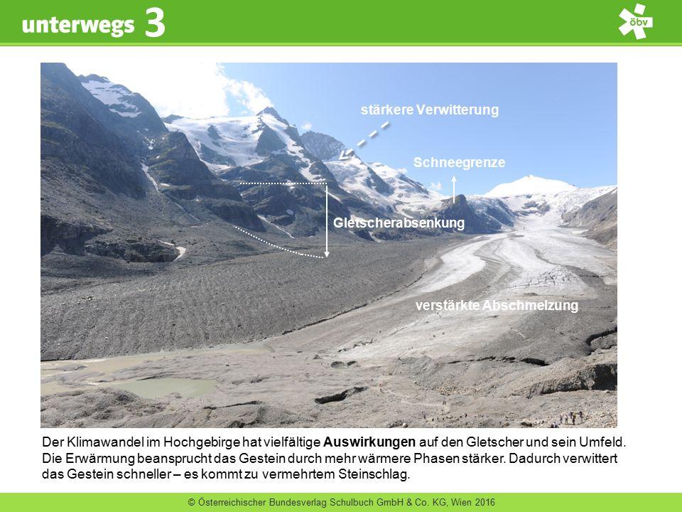 © Österreichischer Bundesverlag Schulbuch GmbH & Co. KG, Wien 2016 3 Der Klimawandel im Hochgebirge hat vielfältige Auswirkungen auf den Gletscher und