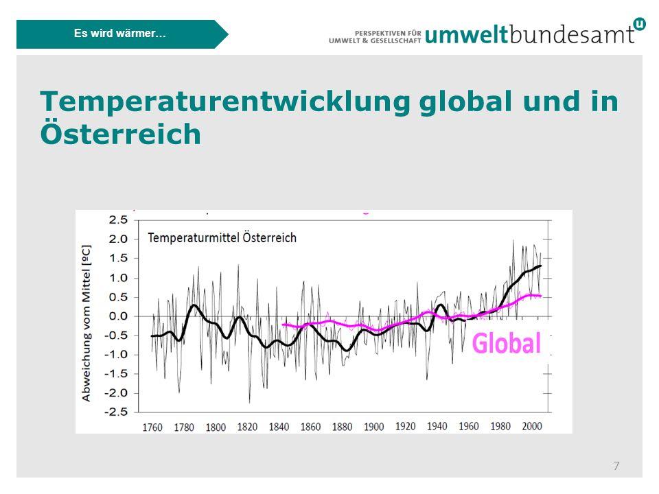7 Es wird wärmer… Temperaturentwicklung global und in Österreich